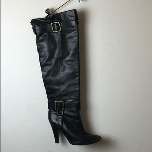 coach leather black heeled boots high buckle 8.5
